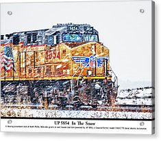 Up 5854 In The Snow With Description Acrylic Print by Bill Kesler