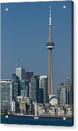 Up Close And Personal - Cn Tower Toronto Harbor And Skyline From A Boat Acrylic Print by Georgia Mizuleva
