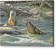 Up For Air - River Otters Acrylic Print
