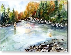 Acrylic Print featuring the painting Up Stream by Marti Green