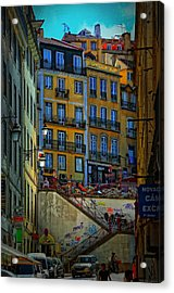Up The Stairs - Lisbon Acrylic Print by Mary Machare