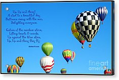 Up Up And Away Poetry Photography Acrylic Print