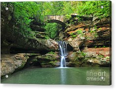 D10a-113 Upper Falls At Old Mans Cave Hocking Hills Photo Acrylic Print