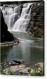 Upper Falls Letchworth State Park Acrylic Print by Christiane Schulze Art And Photography