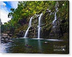 Upper Waikani Falls - The Stunningly Beautiful Three Bears Found In Maui. Acrylic Print by Jamie Pham