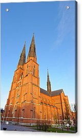 Uppsala Cathedral In Sweden - Glowing In The Evening Light Acrylic Print
