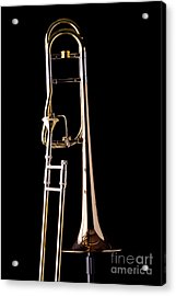 Upright Rotor Tenor Trombone On Black In Color 3465.02 Acrylic Print