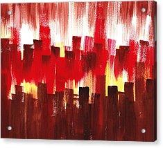 Acrylic Print featuring the painting Urban Abstract Evening Lights by Irina Sztukowski