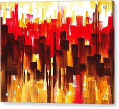 Acrylic Print featuring the painting Urban Abstract Glowing City by Irina Sztukowski