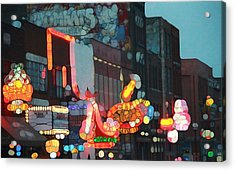 Urban Abstract Nashville Neon Acrylic Print by Dan Sproul