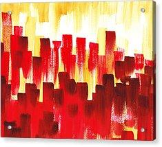 Acrylic Print featuring the painting Urban Abstract Red City Lights by Irina Sztukowski