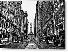 Urban Canyon - Philadelphia City Hall Acrylic Print by Bill Cannon