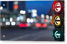 Urban City Street Szene With Colorful Traffic Lights And Bokeh Night Lights Acrylic Print by Matthias Makarinus