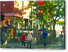 Urban Explorers Couple Walking Downtown Streets Of Montreal Summer Scenes Carole Spandau Acrylic Print by Carole Spandau