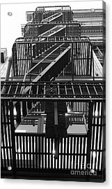 Urban Fabric - Fire Escape Stairs - 5d20592 - Black And White Acrylic Print by Wingsdomain Art and Photography