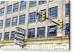 Urban Garage Monthly Parking Only Acrylic Print by Janice Rae Pariza