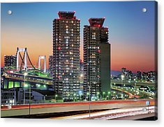 Urban Night Scene Acrylic Print by Image Provided By Duane Walker