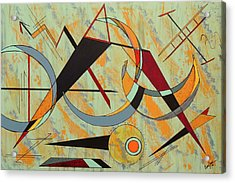 Urban Petroglyph Series Walk Under Ladders Acrylic Print by Debra Jacobson