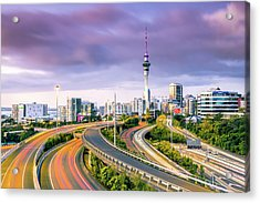 Urban Roads With Traffic Leading To Acrylic Print by Matteo Colombo