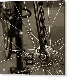 Acrylic Print featuring the photograph Urban Spokes In Sepia by Steven Milner