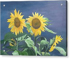Urban Sunflowers Original Colorful Painting Sunflower Art Decor Sun Flower Artist K Joann Russell    Acrylic Print