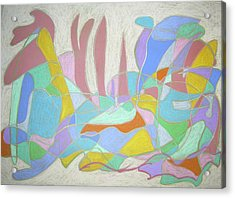 Acrylic Print featuring the painting Urban Utopia by Esther Newman-Cohen