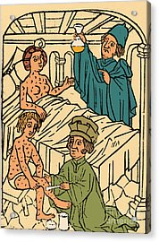 Uroscopy Patients With Syphilis 1497 Acrylic Print by Science Source