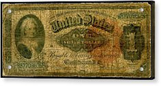 U.s. 1886 One Dollar Silver Certificate  Acrylic Print by Lanjee Chee