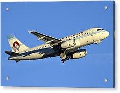 Us Airways Airbus A319-132 N828aw America West Legacy Phoenix Sky Harbor December 24 2014  Acrylic Print by Brian Lockett