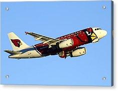 Us Airways Airbus A319-132 N837aw Arizona Cardinals Phoenix Sky Harbor December 24 2014  Acrylic Print by Brian Lockett