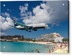 U S Airways Landing At St. Maarten Acrylic Print by David Gleeson