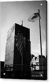 Us And New York Flags In Front Of Deutsche Bank Building Due For Demolition Liberty Street Ground Ze Acrylic Print by Joe Fox
