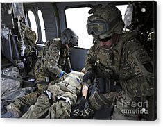 U.s. Army Flight Medics Aid A Simulated Acrylic Print by Stocktrek Images
