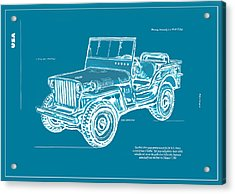 Us Army Jeep In World War 2 Art Sketch Poster-2 Acrylic Print by Kim Wang