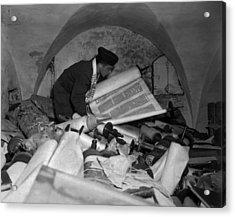 Us Army Jewish Chaplain Examines Torahs Acrylic Print