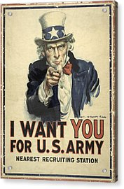 Us Army Recruitment Poster Acrylic Print by Library Of Congress