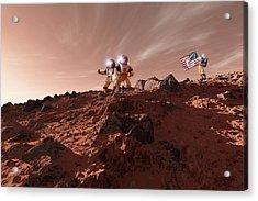 Us Astronauts On Mars Acrylic Print by Detlev Van Ravenswaay