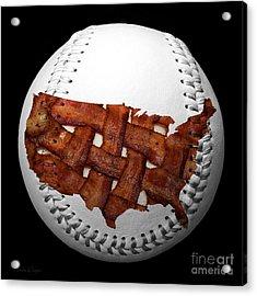 Us Bacon Weave Map Baseball Square Acrylic Print