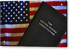 United States Constitution And Flag Acrylic Print by Ron White