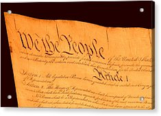 Us Constitution Closest Closeup Brown Background Acrylic Print by L Brown