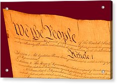 Us Constitution Closest Closeup Violet Red Background Acrylic Print by L Brown