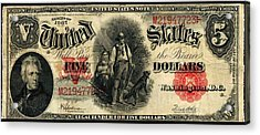 Us Five Dollar United States Note Series 1907 Acrylic Print by Lanjee Chee