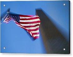 Us Flag At Washington Monument At Dusk Acrylic Print by David Smith