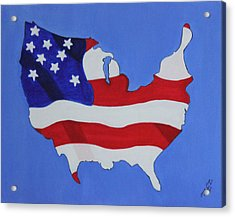 Acrylic Print featuring the painting Us Flag by Lorna Maza