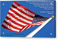 U S Flag Portrait At Chico Cemetery Acrylic Print by James Warren