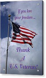 Us Flag Thank A Vet Acrylic Print