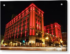 Acrylic Print featuring the photograph Us Grant Hotel In Red by Nathan Rupert