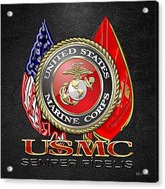 U. S. Marine Corps U S M C Emblem On Black Acrylic Print