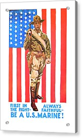 Acrylic Print featuring the mixed media U.s. Marine by Presented By American Classic Art