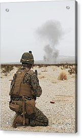 U.s. Marine Provides Security As Part Acrylic Print by Stocktrek Images